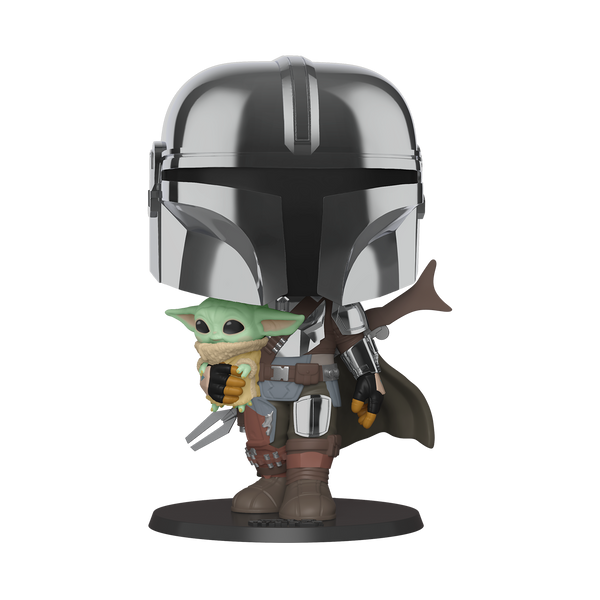 Funko POP Star Wars: Mandalorian- Chrome Mandalorian w Child 10 Inch Figure