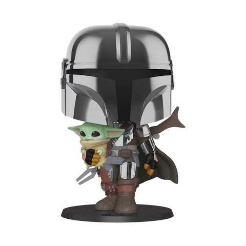POP Star Wars: Mandalorian- Chrome Mandalorian w Child 10 Inch Figure (Coming September 2020)