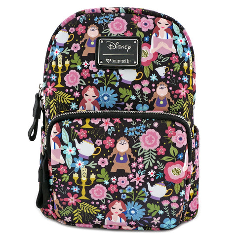Loungefly Beauty and the Beast Character Floral Print Mini Backpack