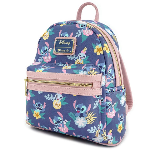 Loungefly Stitch & Scrump Floral Print Mini Faux Leather Backpack