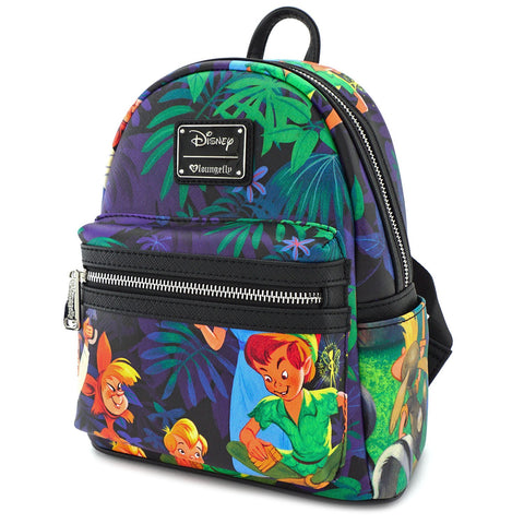 Loungefly Peter Pan Scenes Print Faux Leather Mini Backpack