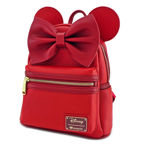 Loungefly Red Minnie Ears & Bow Red Faux Leather Mini Backpack