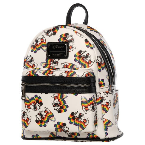 Loungefly Mickey Rainbow Print Saffiano Faux Leather Mini Backpack