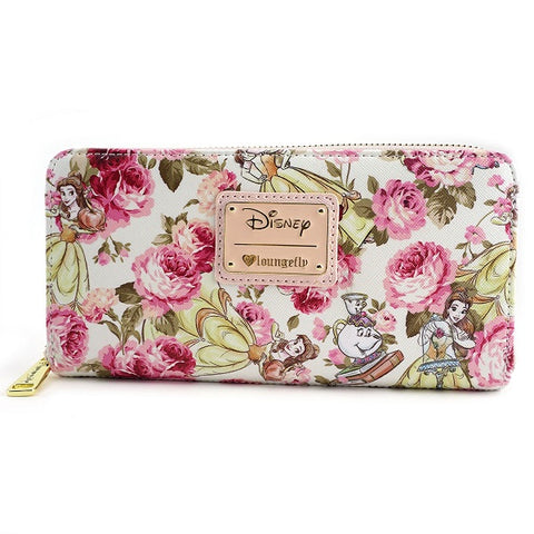 Loungefly The Beauty and the Beast Character Floral Print Wallet