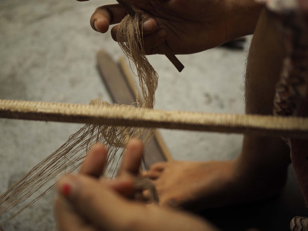 Weaving of eri silk on a handloom