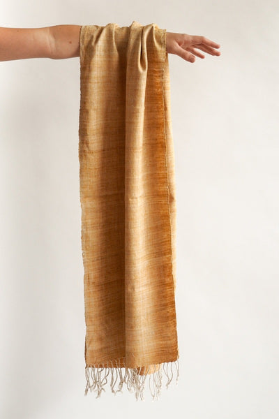 Scarf made from organic peace silk on a handloom in India