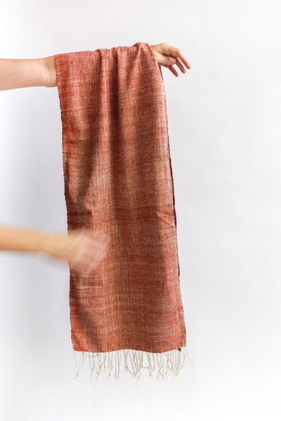 Peace silk scarf with natural dyes like madder. Ethical fashion.