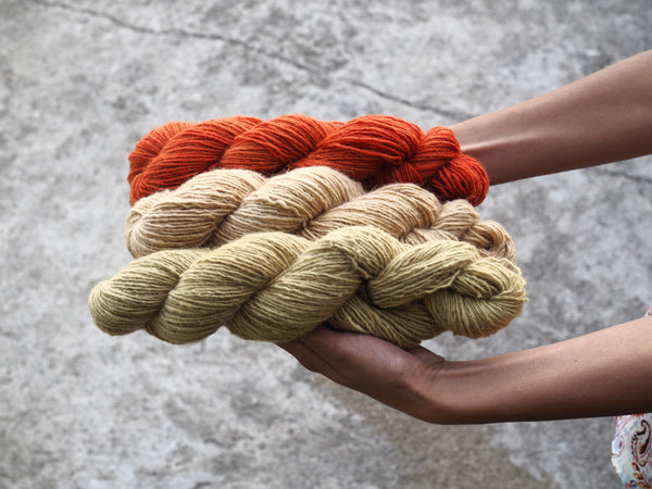 Handspun Sheepwool yarn from the Himalayas naturally dyed with cutch, pomegranate and madder. Organic fine wool from the Changthang Plateau in the Himalayas, Ladakh.