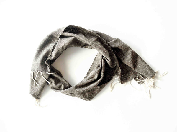 Eri silk scarf from India handspun and handwoven. Naturally dyed with Assamese tea and iron. Organic and natural material, 100% peace silk. Slow and ethically made.
