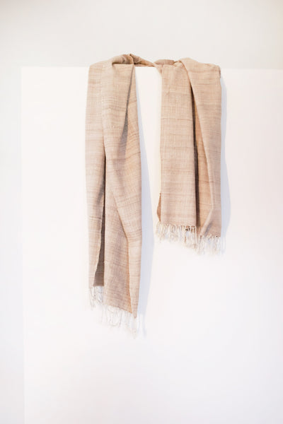 Eri silk scarf from India handspun and handwoven. Naturally dyed with local teak leaves. Organic and natural material, 100% peace silk. Slow and ethically made.