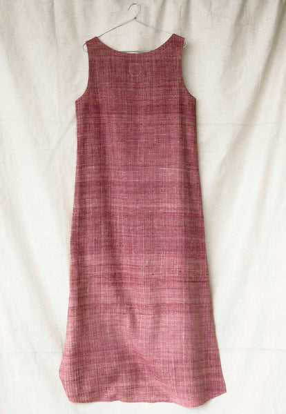 Handspun and handwoven eri silk dress in dark pink. 100% natural fiber. Ethically made, slow fashion.