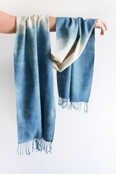 Eri-silk,indigo scarf from India handspun and handwoven. Organic and natural material.