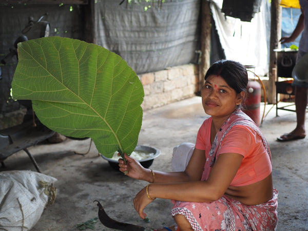 Natural dyeing with teak leaves in Assam