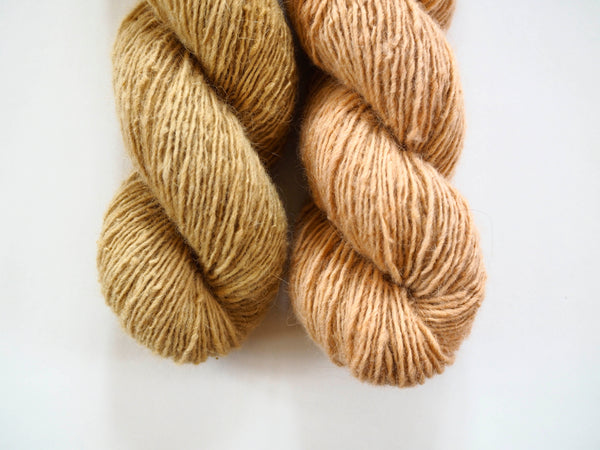 Handspun Sheepwool yarn from the Himalayas naturally dyed with cutch and pomegranate. Organic fine wool from the Changthang Plateau in the Himalayas, Ladakh.
