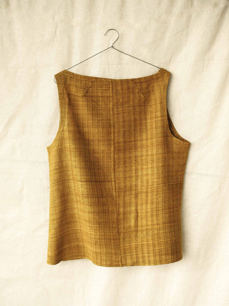 Handspun and handwoven eri silk top in a mustard color. 100% natural fiber and naturally dyed with onion skins. Ethically made, slow fashion, simplicity.