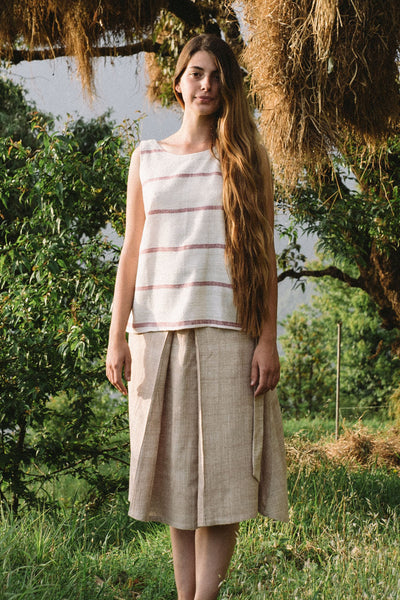 Handspun and handwoven eri silk skirt in a cream color. 100% natural fiber. Ethically made, slow fashion, simplicity.
