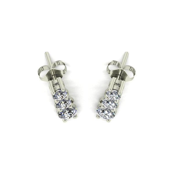1.00ct (2x 4.00mm, 2x 3.25mm & 2x 3.00mm) Round Moissanite Set Earrings