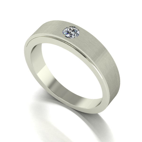 0.20ct (1x 3.5mm) Round Moissanite Set Men's Ring