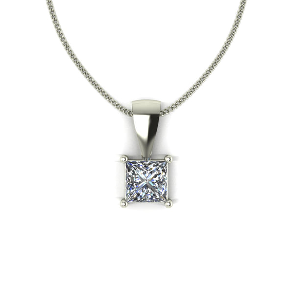 0.80ct (1x 5.0mm) Square Moissanite Set Pendant