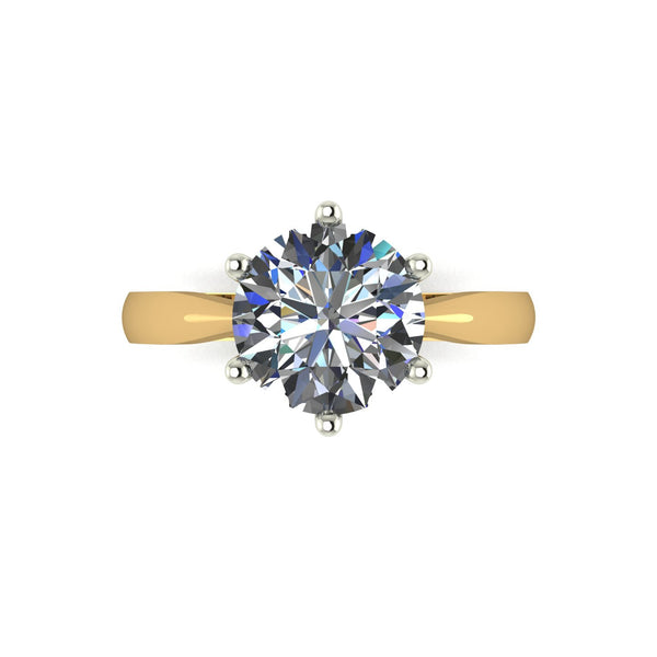 2.50ct (1x 8.5mm) Round Moissanite Set Single Stone Ring
