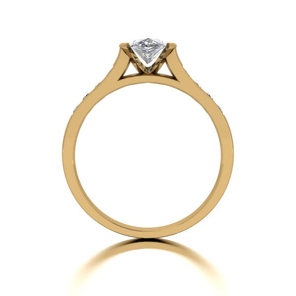 1.00ct (1x 8x5mm Pear & 8x 2.0mm Rnd) Pear & Round Moissanite Set Shoulder Single Stone Ring