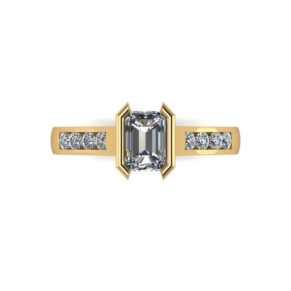 0.82ct (1x 6x4mm Rad & 8x 1.6mm Rnd) Radiant & Round Moissanite Set Shoulder Single Stone Ring
