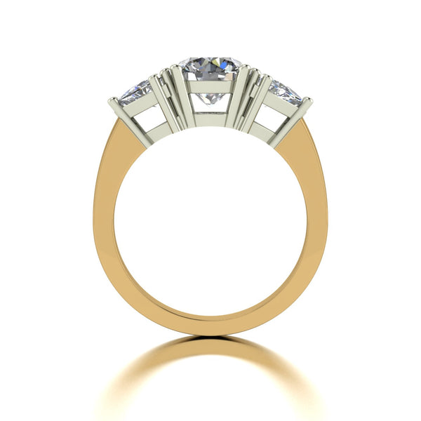 2.00ct (1x 7.0mm Rnd & 2x 5.0mm Trill) Round & Trillion Moissanite Set Three Stone Ring
