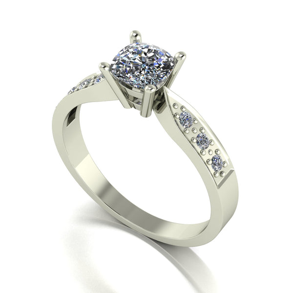 1.00ct (1x 5.5mm Cush, 4x 1.6mm & 2x 2.0mm Rnd) Cushion & Round Moissanite Set Shoulder Single Stone Ring