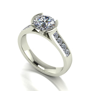 1.30ct (1x 6.5mm & 8x 2.0mm) Round Moissanite Set Shoulder Single Stone Ring