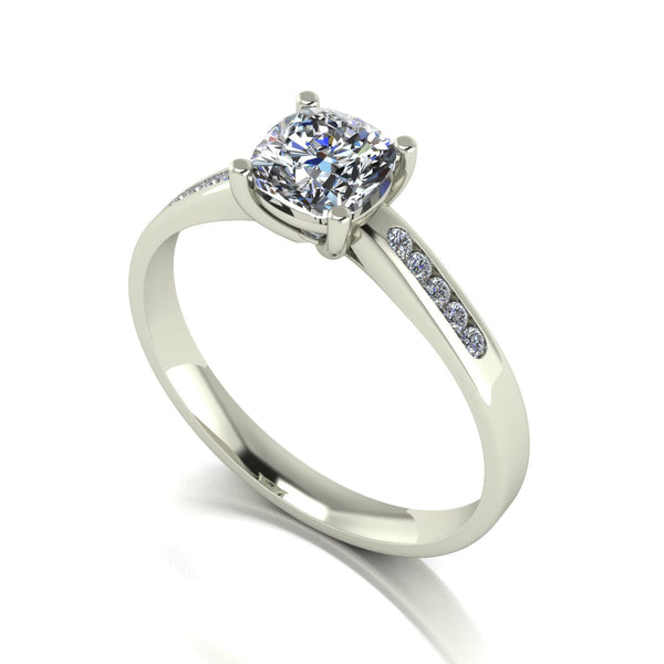 0.90ct (1x 5.5mm Cush & 10x 1.3mm Rnd) Cushion & Round Moissanite Set Shoulder Single Stone Ring