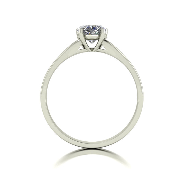 1.10ct (1x 6.5mm Hrt & 10x 1.3mm Rnd) Heart & Round Moissanite Set Shoulder Single Stone Ring