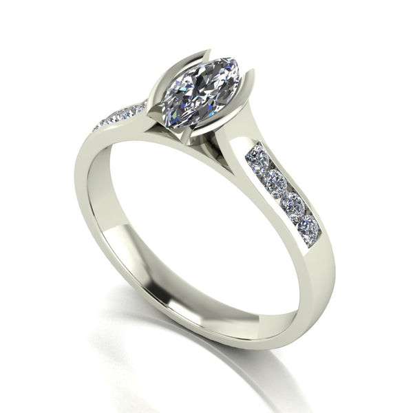 0.82ct (1x 9x4.5mm Marq & 8x 1.6mm Rnd) Marquise & Round Moissanite Set Shoulder Single Stone Ring