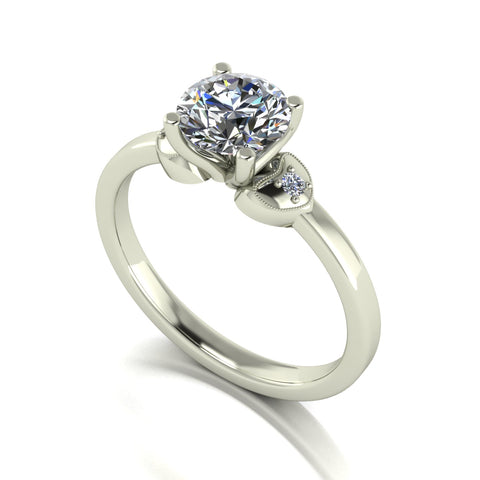 1.00ct (1x 6.5mm & 2x 1.6mm) Round Moissanite Set shoulder Single Stone Ring