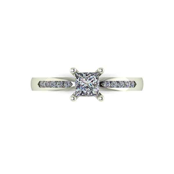 0.50ct (1x 4.0mm Sqr & 10x 1.3mm Rnd) Square & Round Moissanite Set Shoulders Single Stone Ring