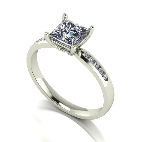 1.60ct (1x 5.5mm Sqr & 10x 1.3mm Rnd) Square & Round Moissanite Set shoulder Single Stone Ring