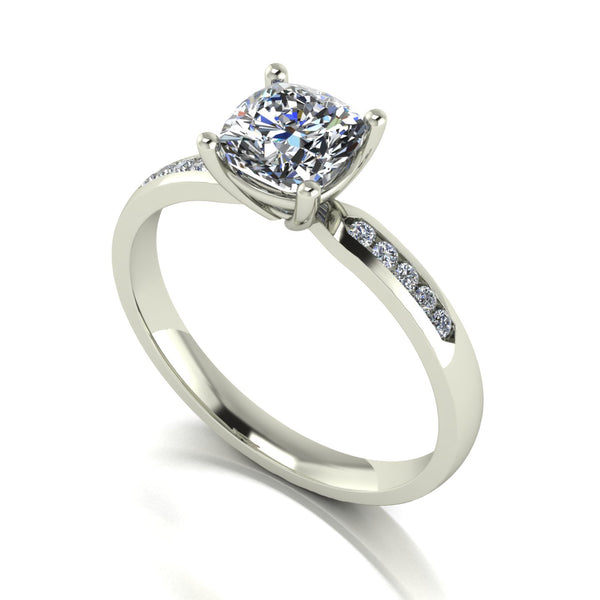 1.20ct (1x 6.0mm Cush & 10x 1.3mm Rnd) Cushion & Round Moissanite Set shoulder Single Stone Ring