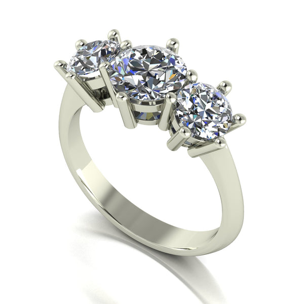 2.50ct (1x 7.0mm & 2x 5.5mm) Round Moissanite Set Three Stone Ring