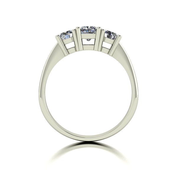 1.20ct (1x 4.5mm Cush & 2x 4.0mm Rnd) Cushion & Round Moissanite Set Three Stone Ring