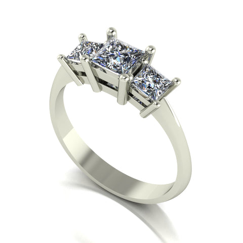 1.00ct (1x 4.5mm 2x 3.5mm) Square Moissanite Set Three Stone Ring