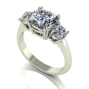 3.50ct (1x 8.5mm Cush & 2x 4.5mm Rnd) Cushion & Round Moissanite Set Three Stone Ring