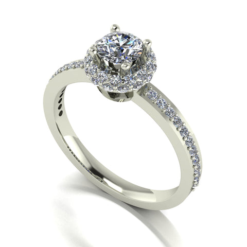 1.00ct (1x 5.0mm & 50x 1.3mm) Round Moissanite Set Cluster Ring