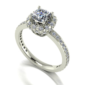 1.25ct (1x 5.5mm Cush & 50x 1.2mm Rnd) Cushion & Round Moissanite Set Cluster Ring