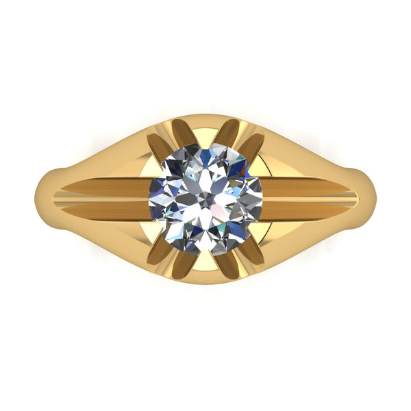 2.00ct (1x 8.0mm) Round Moissanite Set Men's Ring