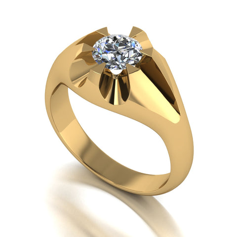 1.00ct (1x 6.5mm) Round Moissanite Set Men's Ring