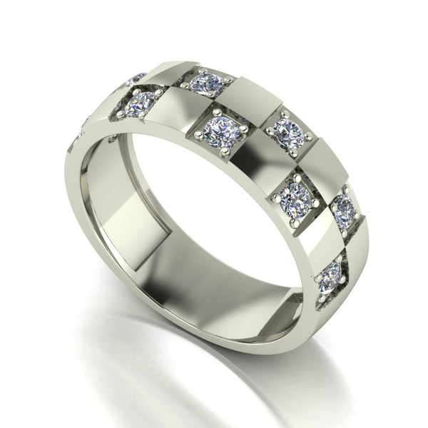 0.80ct (10x 2.5mm) Round Moissanite Set Men's Ring