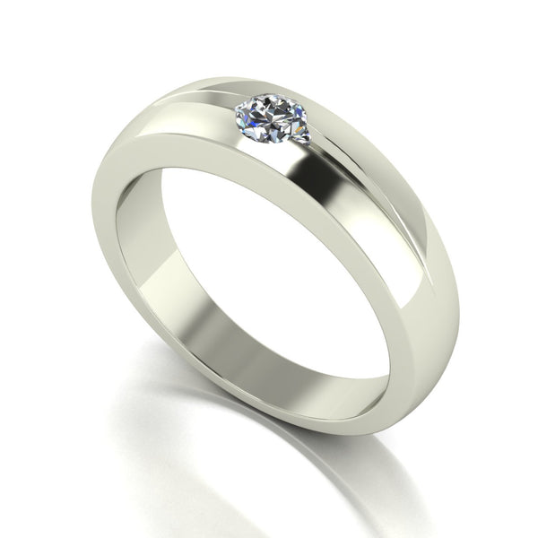 0.50ct (1x 5.0mm) Round Moissanite Set Men's Ring