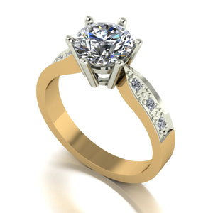 1.65ct (1x 7.5mm & 6x 1.6mm) Round Moissanite Set Shoulders Single Stone Ring