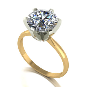 4.00ct (1x10.0) Round Moissanite Set Single Stone Ring
