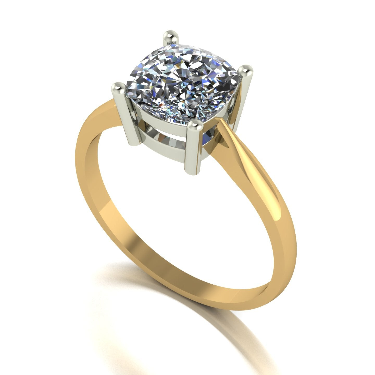 2.00ct (1x 7.5mm) Cushion Moissanite Set Single Stone Ring