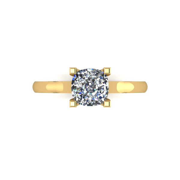 1.10ct (1x 6.0mm) Cushion Moissanite Set Single Stone Ring